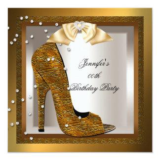 Bronze Gold Cream High Heel Shoe Birthday Party 5.25x5.25 Square Paper Invitation Card