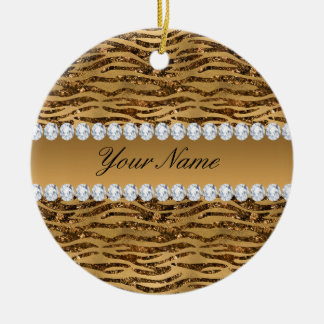 Bronze Gold Faux Foil Zebra Stripes Ceramic Ornament
