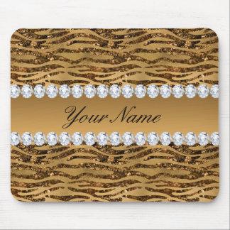 Bronze Gold Faux Foil Zebra Stripes Mouse Pad