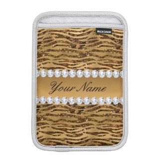 Bronze Gold Faux Foil Zebra Stripes Sleeve For iPad Mini