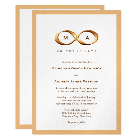 Bronze Gold Infinity Hand Clasp Wedding Invitation