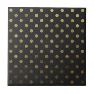 Bronze Gold Leaf Metallic Faux Foil Polka Dot Ceramic Tile