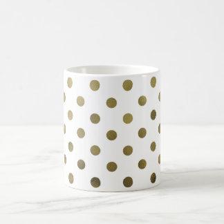 Bronze Gold Leaf Metallic Faux Foil Polka Dot Coffee Mug