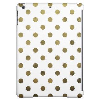 Bronze Gold Leaf Metallic Faux Foil Polka Dot Cover For iPad Air