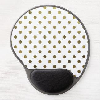 Bronze Gold Leaf Metallic Faux Foil Polka Dot Gel Mouse Pad