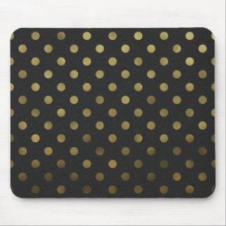 Bronze Gold Leaf Metallic Faux Foil Polka Dot Mouse Pad