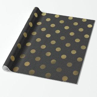 Bronze Gold Leaf Metallic Faux Foil Polka Dot Wrapping Paper
