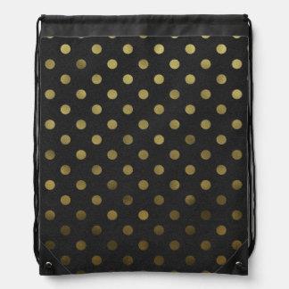 Bronze Gold Leaf Metallic Foil Polka Dot Black Drawstring Bag