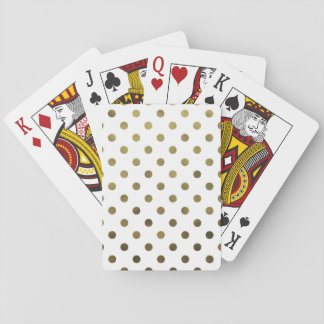 Bronze Gold Leaf Metallic Foil Small Polka Dot Deck Of Cards