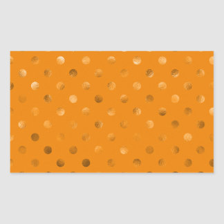 Bronze Gold Metallic Faux Foil Polka Dot Orange Rectangular Sticker