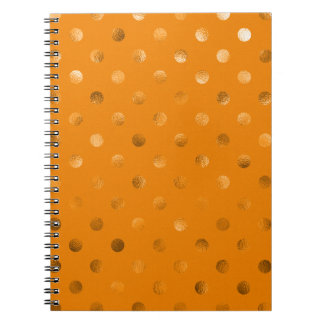 Bronze Gold Metallic Faux Foil Polka Dot Orange Spiral Notebook