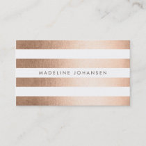 Bronze Gold Stripes Hair Stylist Business Cards
