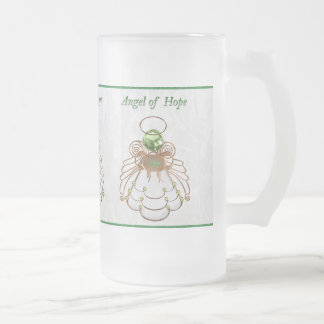 Bronze Green - Christmas Angel of Hope Frosted Glass Beer Mug