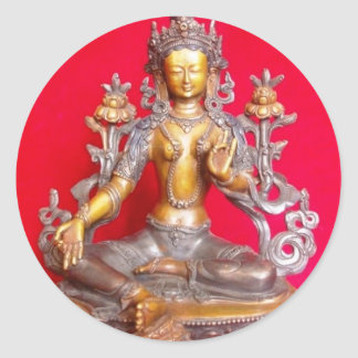 BRONZE GREEN TARA STATUE ANCIENT TIBET CLASSIC ROUND STICKER