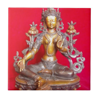 BRONZE GREEN TARA STATUE ANCIENT TIBET TILE