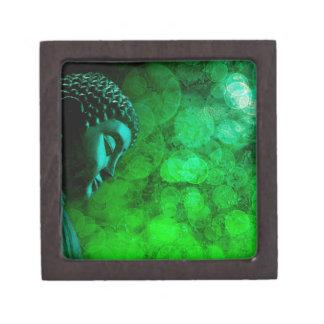 Bronze Green Zen Buddha Statue Meditating Keepsake Box