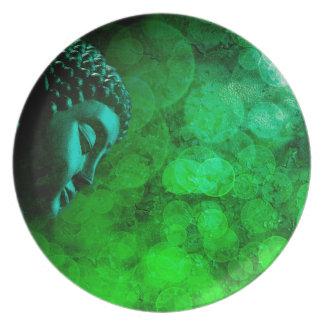 Bronze Green Zen Buddha Statue Meditating Plate