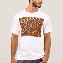 Bronze Grid Geometric Triangle Pattern T-Shirt