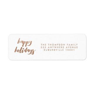 Bronze Happy Holidays Christmas Return Address Label