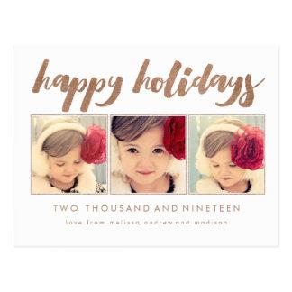 Bronze Happy Holidays Xmas Photo Frame Postcard