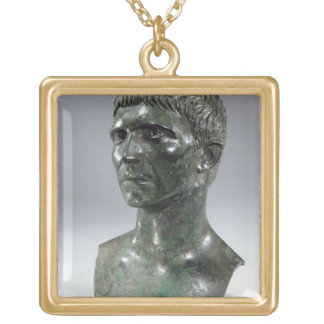 Bronze head of a man, Roman, beginning of 1st cent Gold Plated Necklace