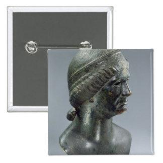 Bronze head of a woman, sometimes identified as Ma Pinback Button