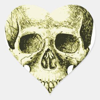 Bronze Human Skull face Heart Sticker