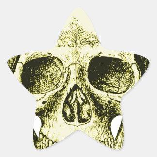 Bronze Human Skull face Star Sticker
