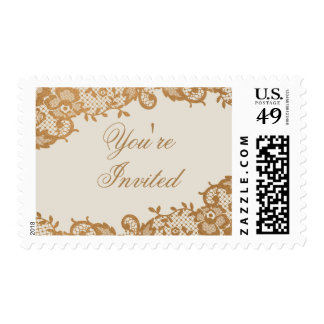 Bronze Lace 100th Birthday Stamp -you're invited