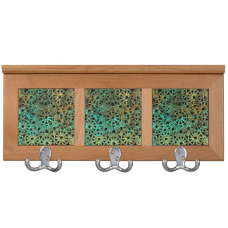 bronze lace image abstract pattern green gold coat rack