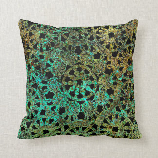 bronze lace image abstract pattern green gold pillow