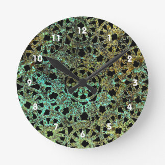 bronze lace no background abstract pattern round clock