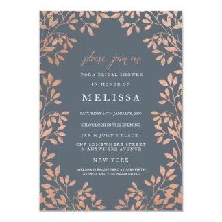 Bronze Leaves Border Bridal Shower Invite