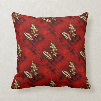 Bronze Leaves on Red Throw Pillow