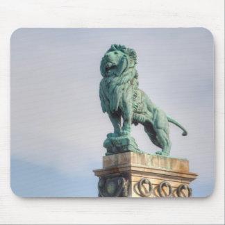 Bronze Lion Statue Mouse Pad