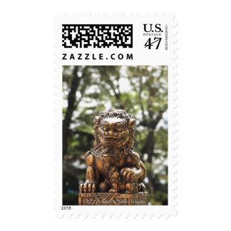 Bronze lion statue postage stamp