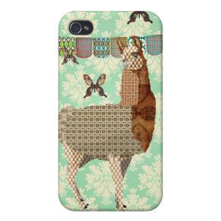Bronze Llama & Butterflies Mint Julep Damask iPhon iPhone 4 Cases