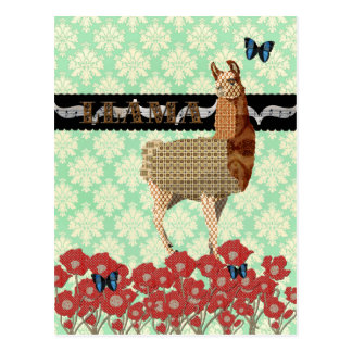 Bronze Llama Mint Julep Damask  Postcard