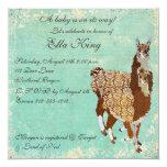 "Bronze Llamas Baby Invitation 5.25"" Square Invitation Card"