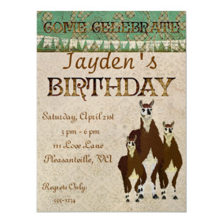 Bronze Llamas  Birthday Invitation