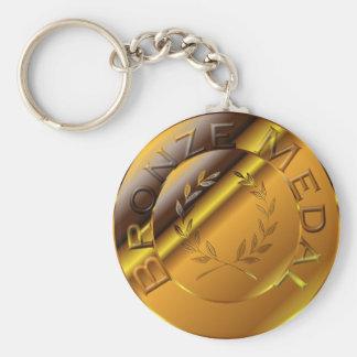 Bronze Medal Basic Round Button Keychain