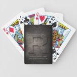 Bronze Metal R Monogram Customizable Playing Cards