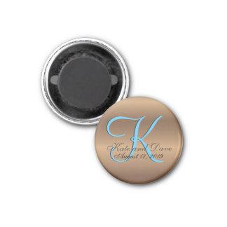Bronze Monogram 1 Inch Round Magnet