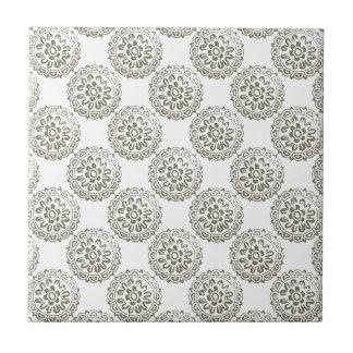 Bronze Motif Mandalas Round Design 1 + add Ceramic Tile