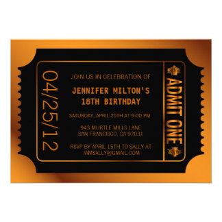 Bronze Movie Ticket Invite
