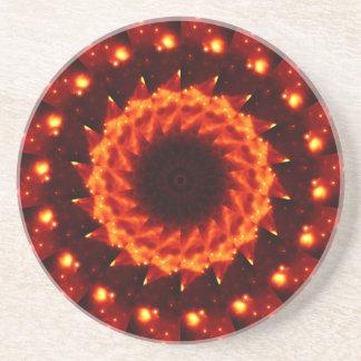 Bronze Nebula Kaleidoscope Mandala Beverage Coasters