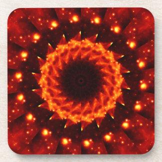 Bronze Nebula Kaleidoscope Mandala Drink Coaster