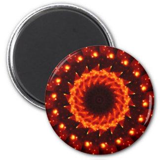 Bronze Nebula Kaleidoscope Mandala 2 Inch Round Magnet