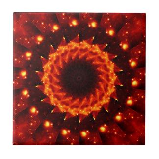 Bronze Nebula Kaleidoscope Mandala Small Square Tile