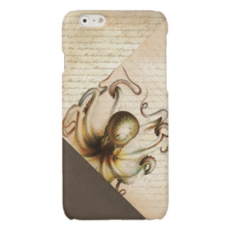 Bronze Octopus Old Love Letters Brown Velvet Look Glossy iPhone 6 Case